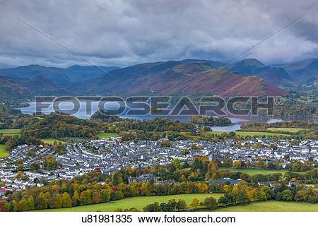 Stock Image of England, Cumbria, Underskiddaw. View over Keswick.