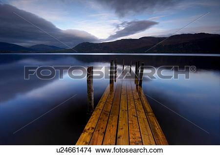 Stock Photo of England, Cumbria, Keswick, Brandlehow bay jetty.