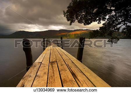 Stock Photograph of England, Cumbria, Keswick, Brandlehow bay.