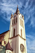 Stock Photography of Big church in Keszthely, Hungary, vertical.