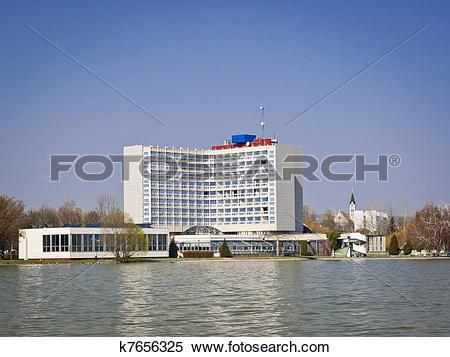 Stock Image of Retro hotel by lake of Balaton in Keszthely.