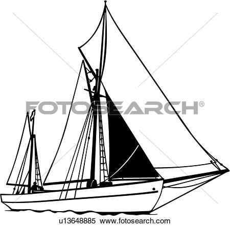 Clipart of , boat, cruising, ketch, sailboat, sailing, sport, ship.