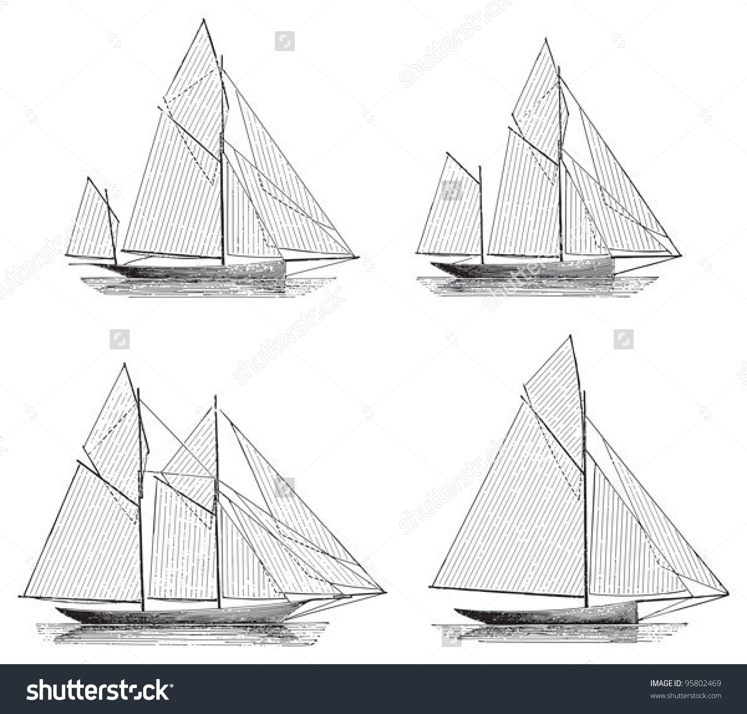 Sailing Boat Yawl Ketch Schooner Sloop Stock Vector 95802469.
