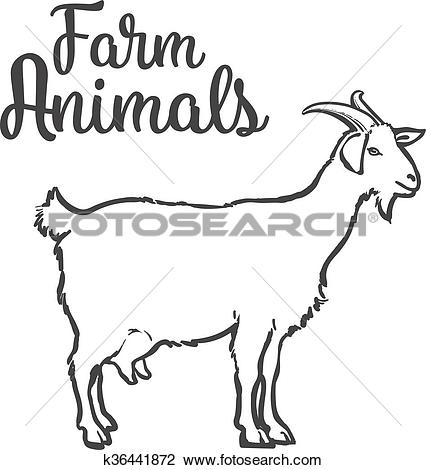 Clipart of ketch of a goat with horns and udder k36441872.