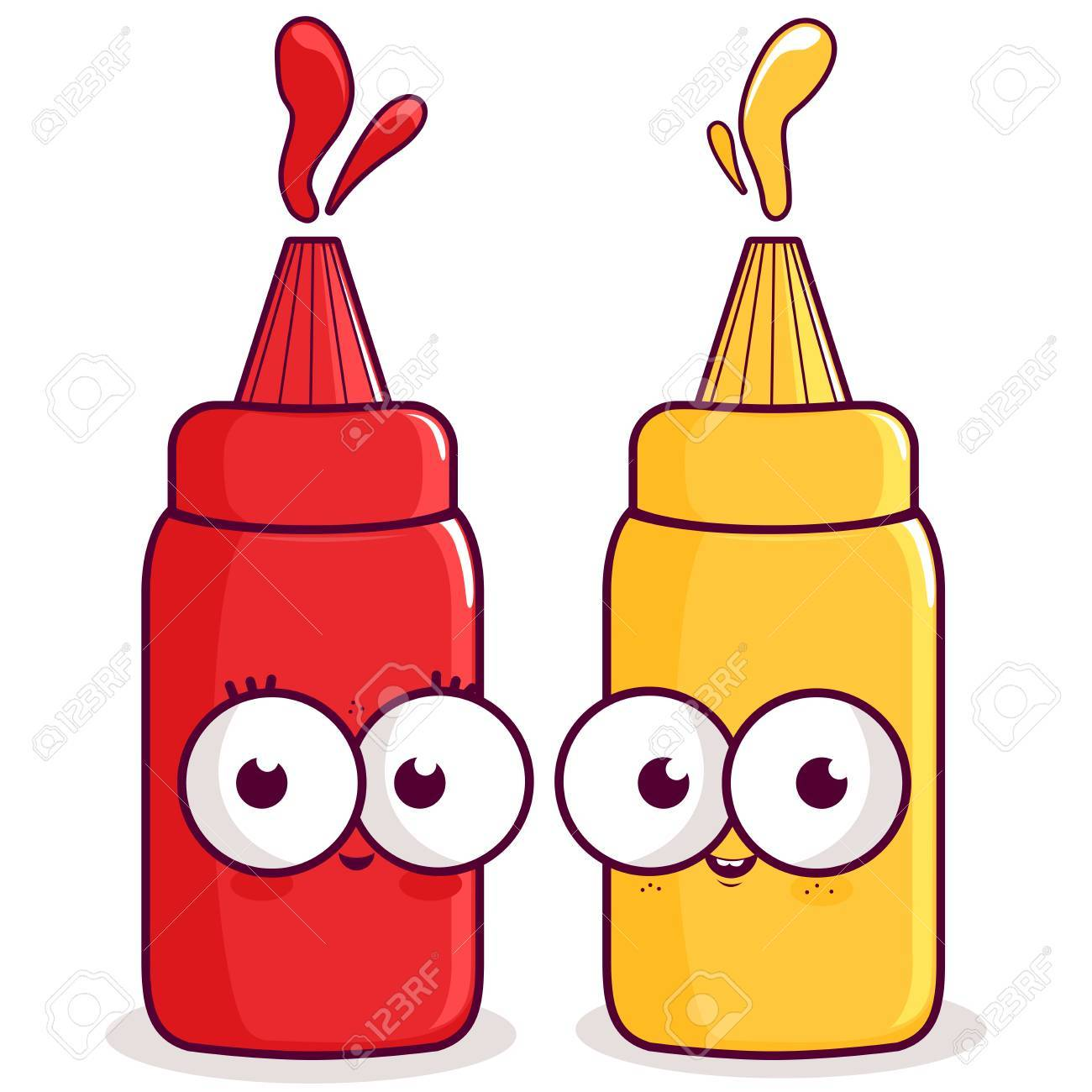 Ketchup and mustard characters..