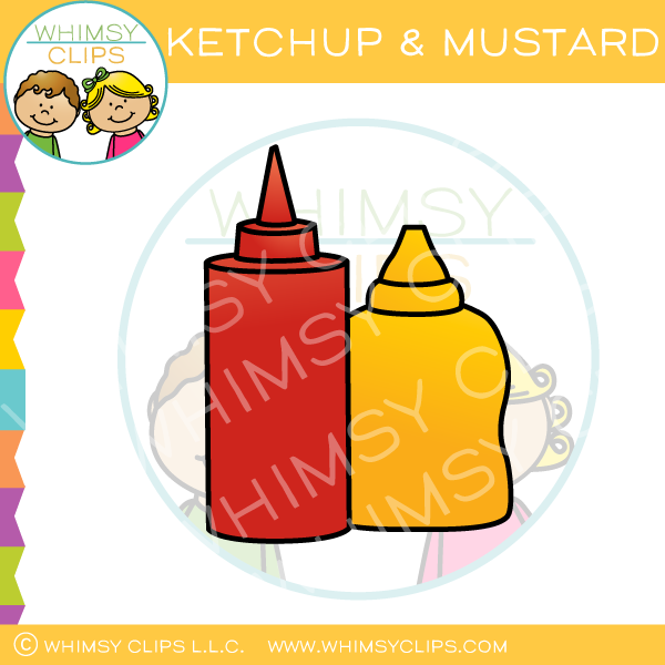 Ketchup and Mustard Clip Art.
