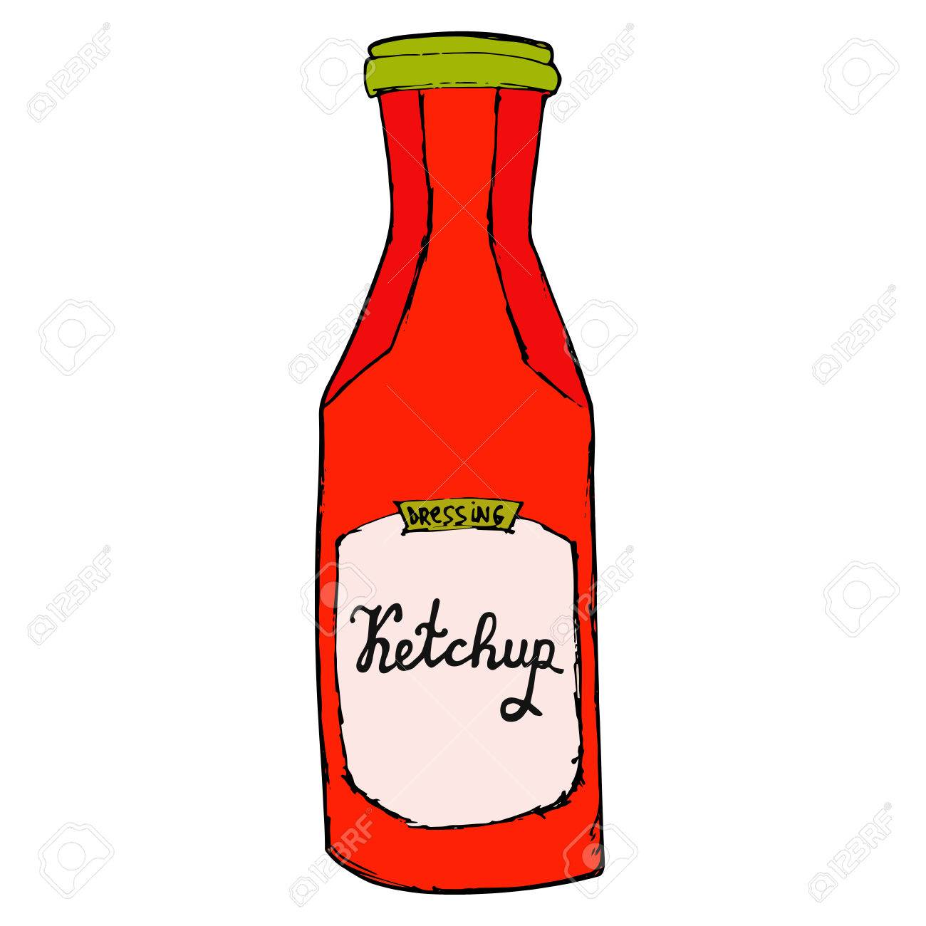 Ketchup bottle. Hand drawn tomato sauce jar sketchy illustration..