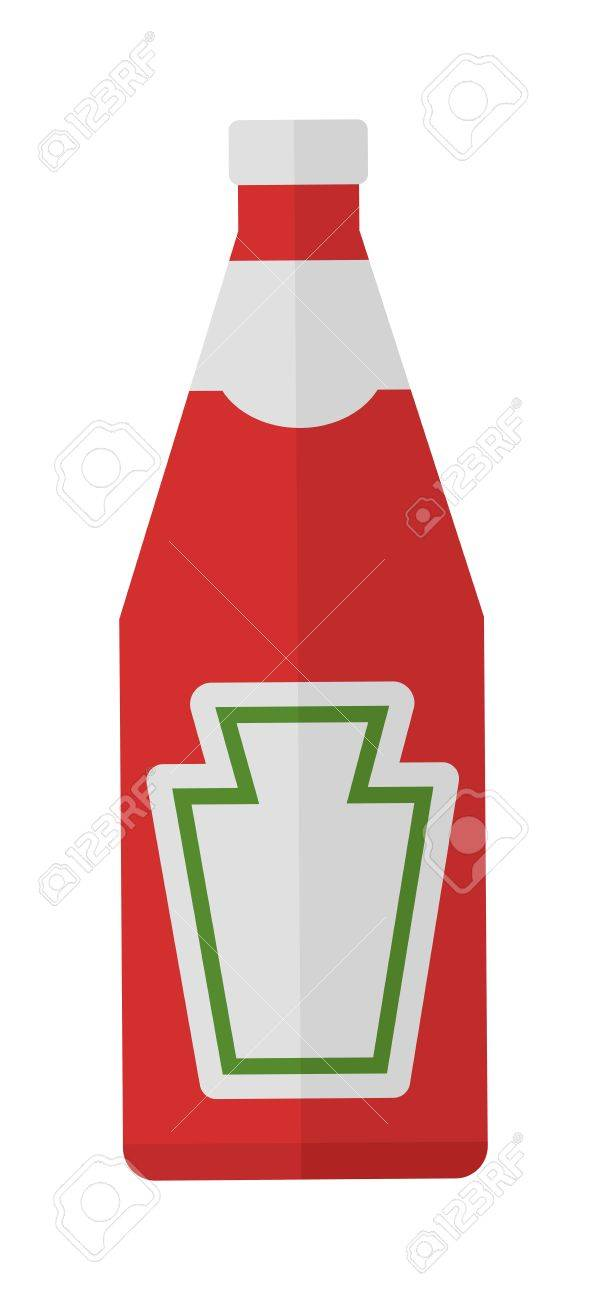Traditional glass tomato ketchup bottle isolated on white background...