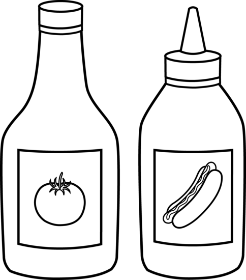 Ketchup and Mustard Line Art.