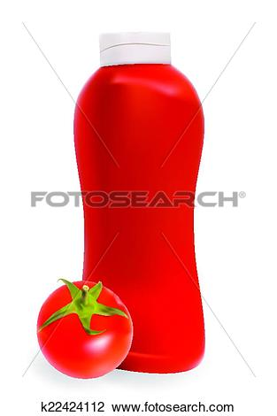 Clipart of Ketchup, Tomato Sauce on White Background Vector.