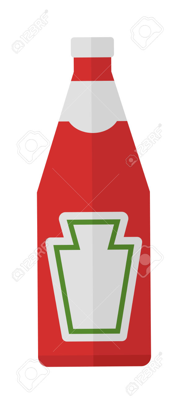 Traditional Glass Tomato Ketchup Bottle Isolated On White.