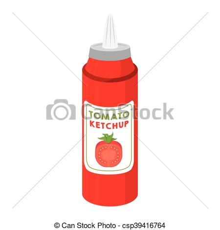 Clip Art Vector of ketchup tomato sauce food.