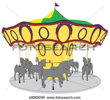 Clip Art of Vintage Carousel Merry Go Round k7544342.