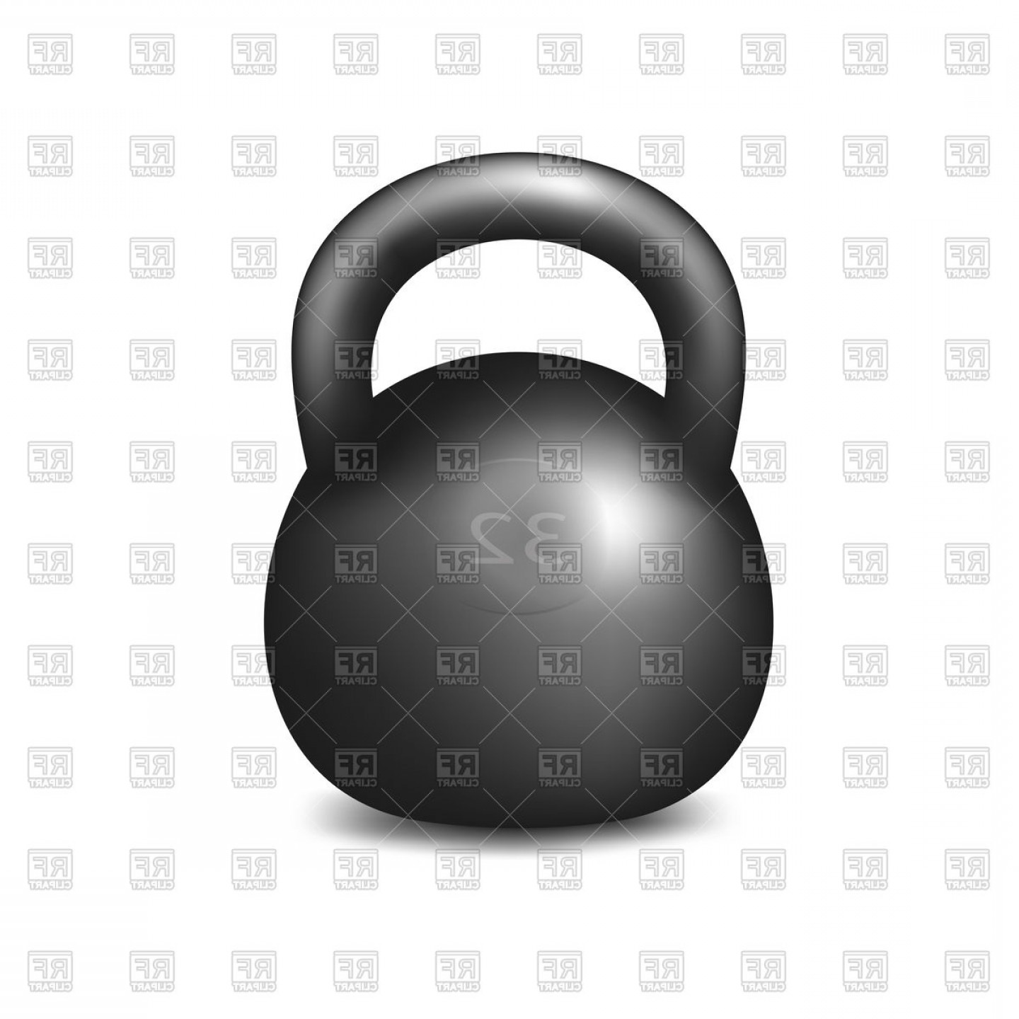 Athletic Kettlebell On White Background Vector Clipart.