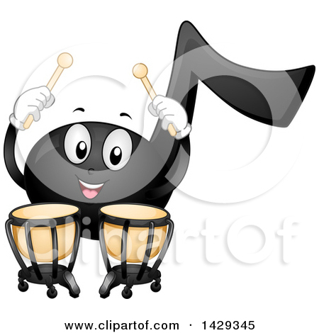 Clipart of a Black Music Note Mascot Playing Timpani Kettledrums.