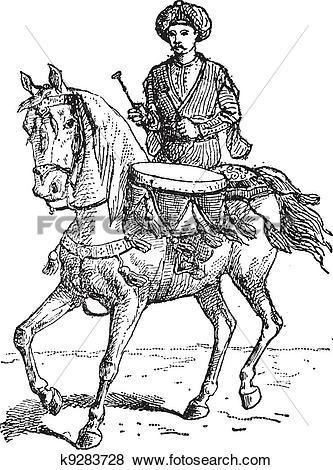 Clip Art of Timpani, or kettledrums, vintage engraving. k9283728.
