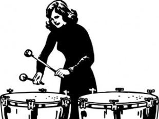 Woman Playing Kettledrums clip art.