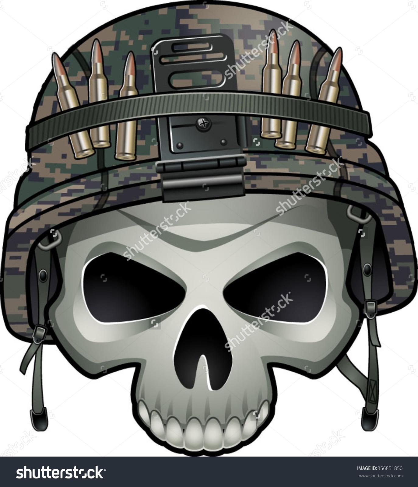 Military Skull Wearing Kevlar Helmet Stock Vector 356851850.