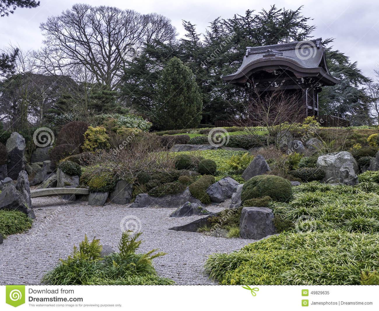 Japanese Gateway Kew Gardens Winter Editorial Image.