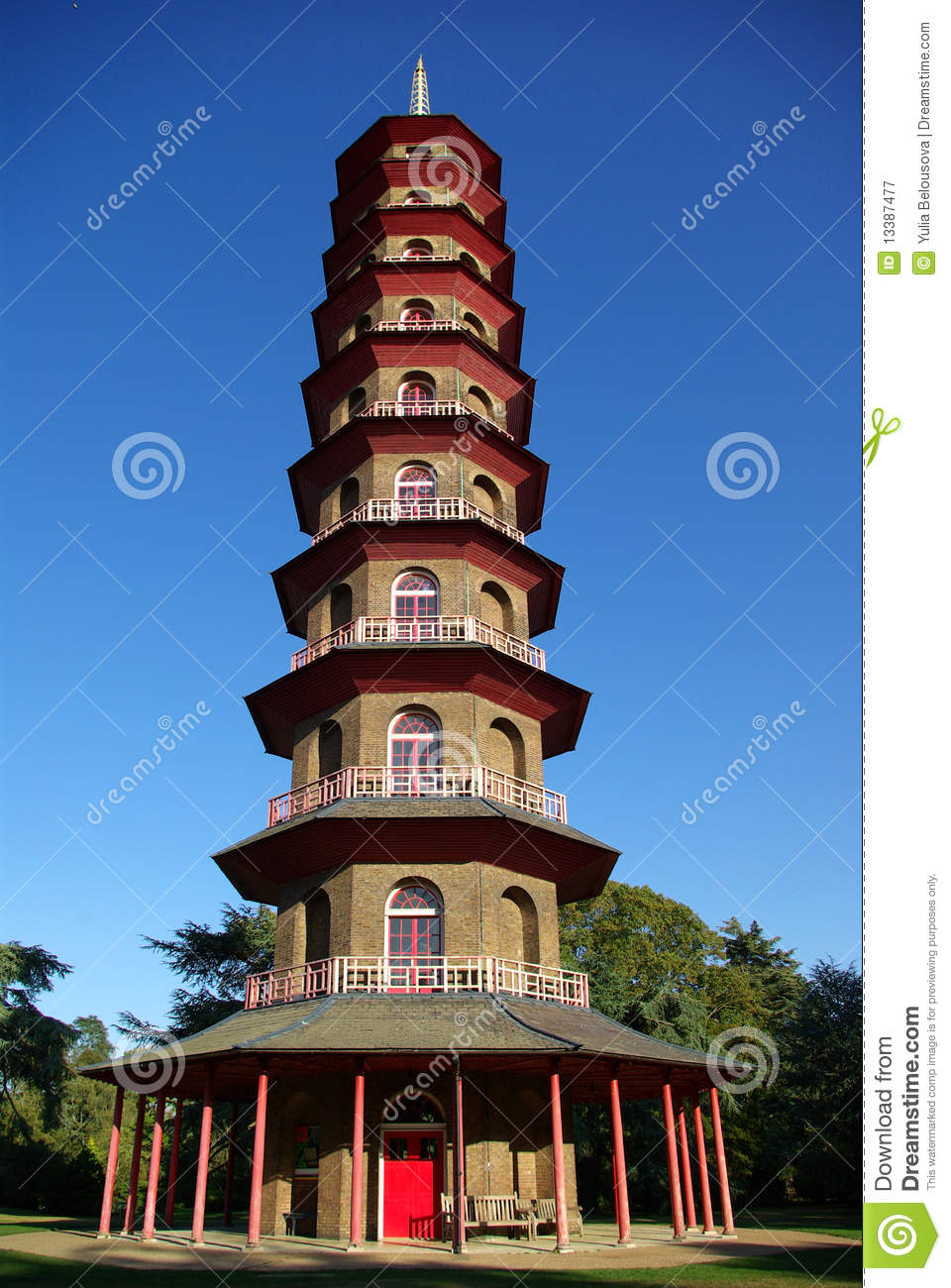 Chinese Pagoda In Kew Gardens Royalty Free Stock Photography.