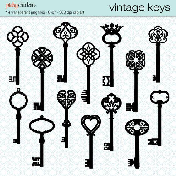 Vintage Keys clip art.