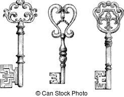 Clipart Vector of Chalk sketched antique skeleton keys on.