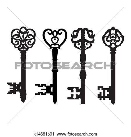 Clipart of Old key collection k14681591.