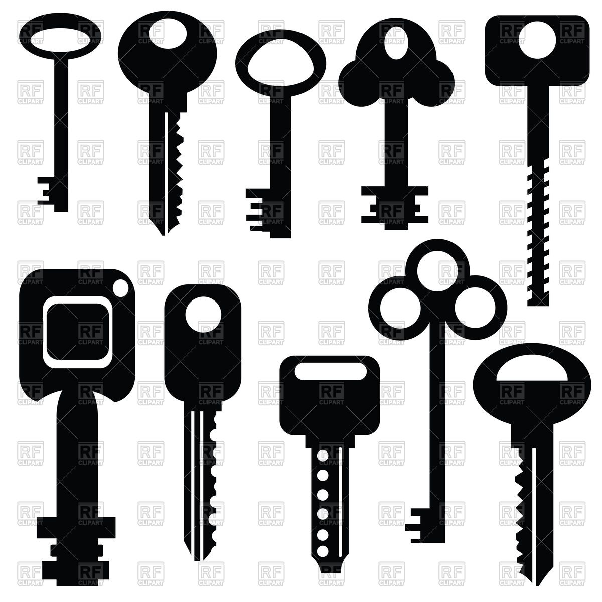 Pictograms (silhouettes) of modern and old keys Vector Image.