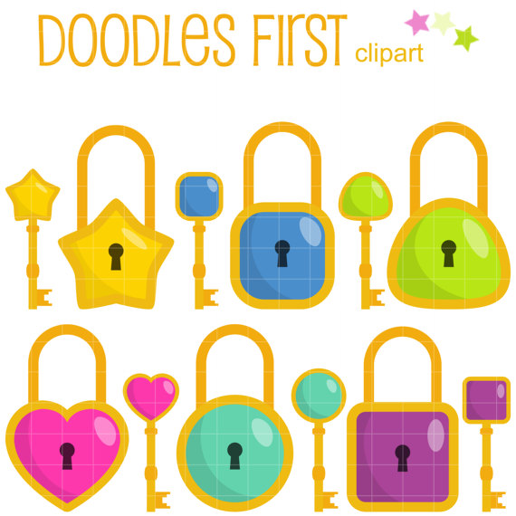 Simple Lock And Key Collection Clip Art for by DoodlesFirst.