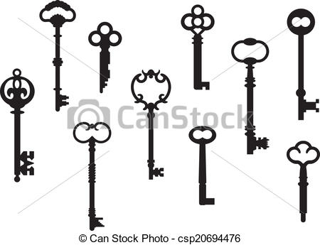 Vectors Illustration of Antique Key Collection.