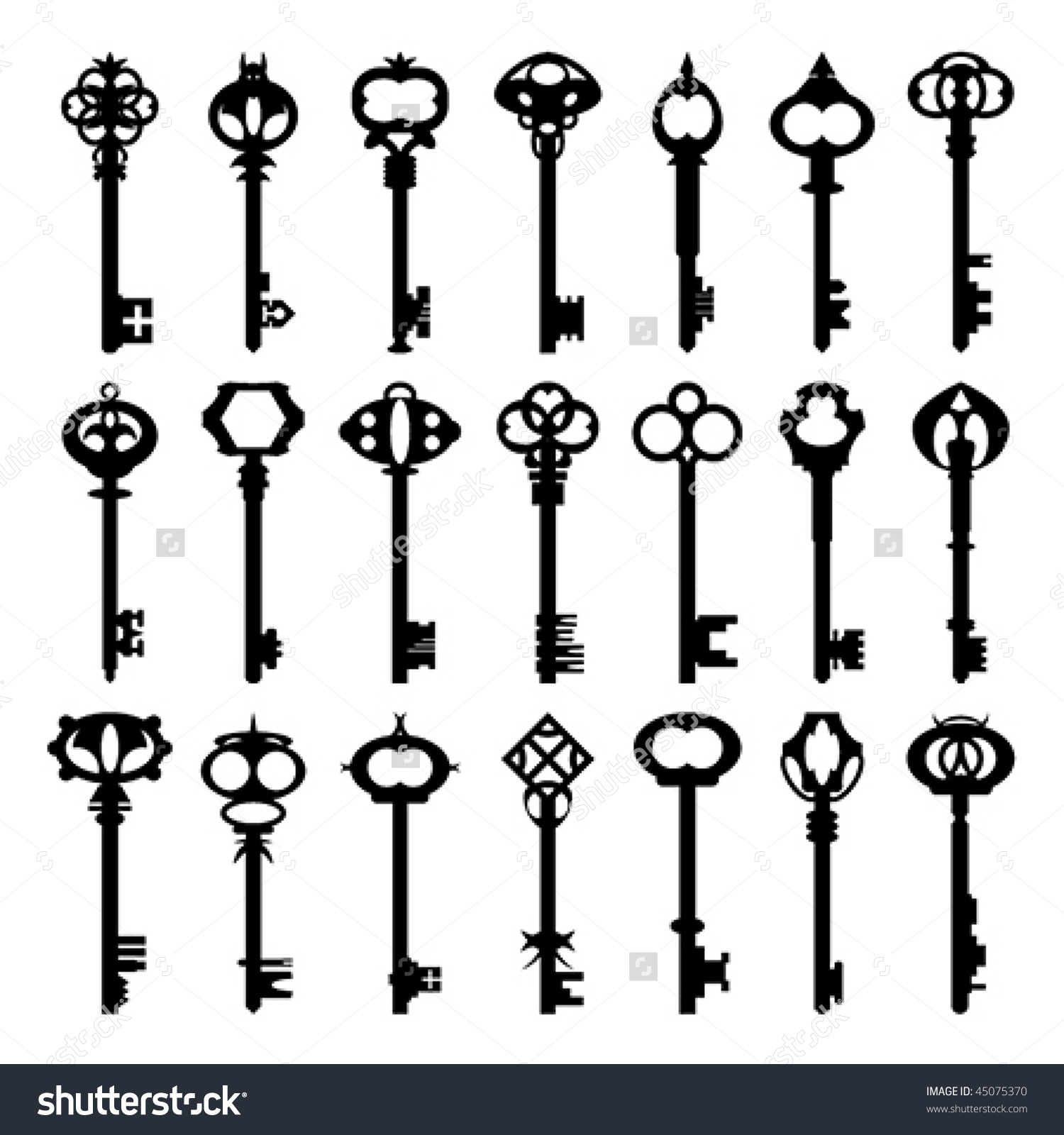Original Antique Keys Collection Stock Vector 45075370.