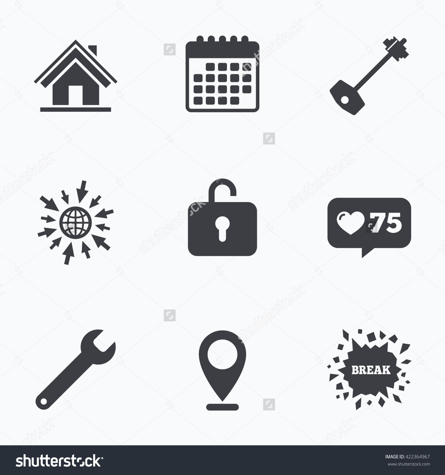 Calendar, Like Counter And Go To Web Icons. Home Key Icon. Wrench.