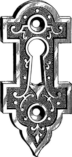 Door with key hole clipart black and white.