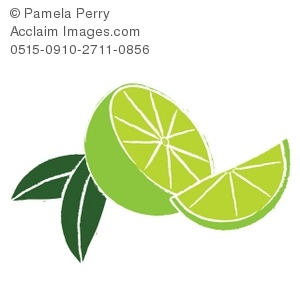 Clip Art Illustration of Cut Limes.