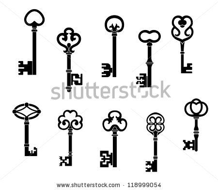 Old and vintage keys set with secret silhouettes, such a.