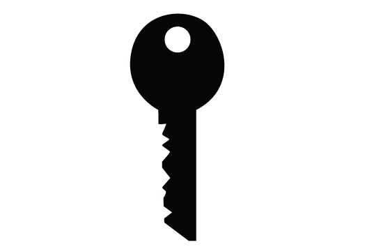 Key silhouette vector.