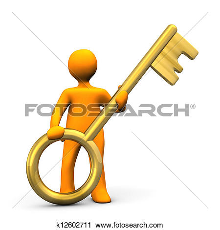 Clipart of Manikin Golden Key k12602711.