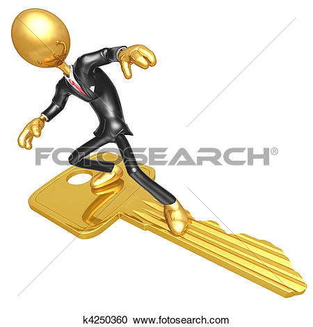 Stock Illustrations of Businessman Surfing On Gold Key k4250360.
