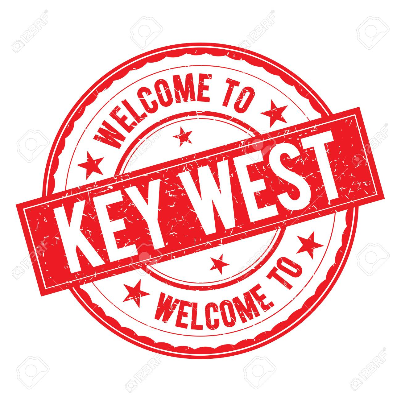 Welcome to KEY WEST Stamp Icon Sign Vector..