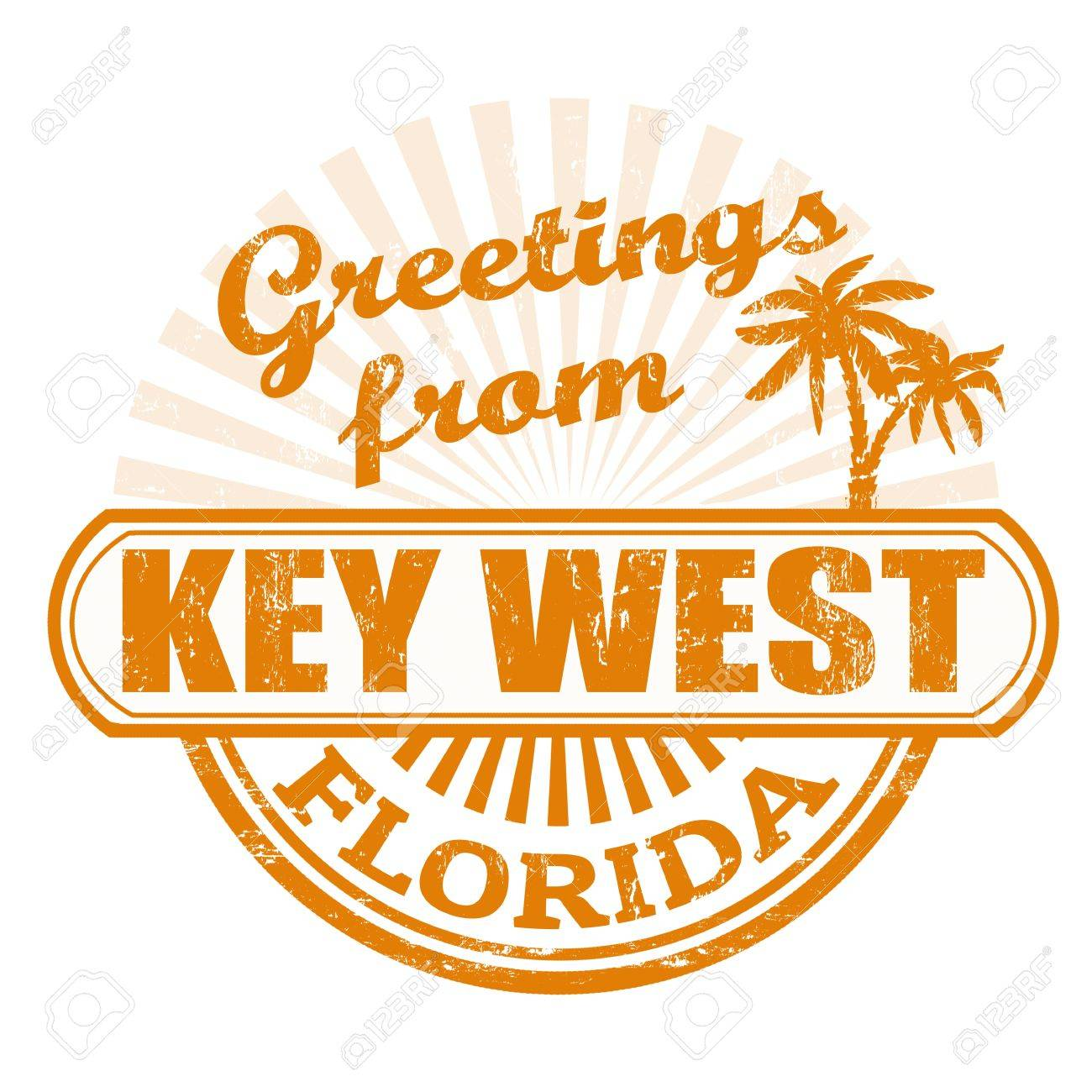 Grunge rubber stamp with text Greetings from Key West, Florida,...