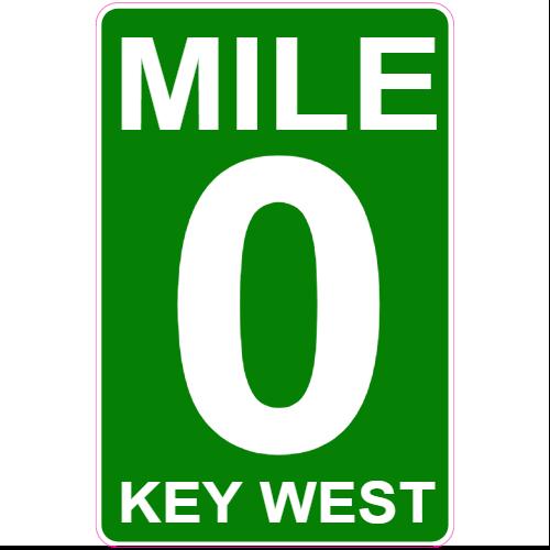 Mile 0 Key West Road Sign Sticker.