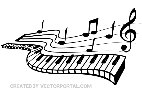 Keyboard and Music Notes Vector Image.