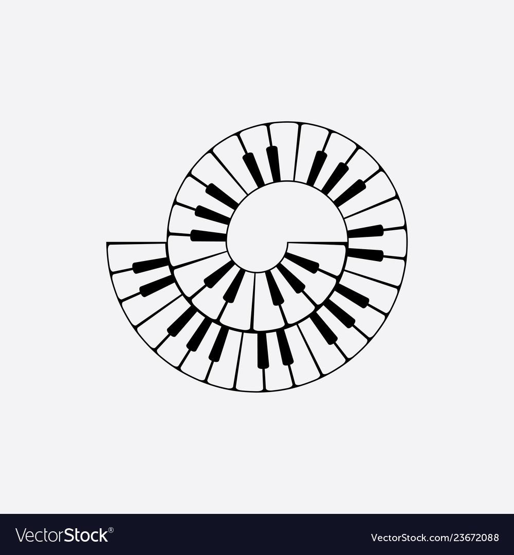 Spiral piano keyboard clipart.