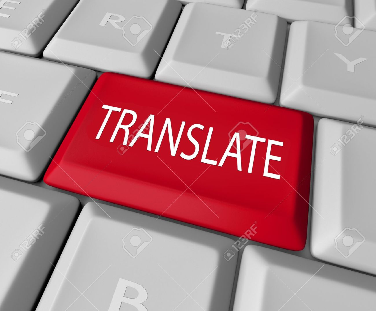 The Word Translate On A Red Computer Keyboard Key Or Button To.