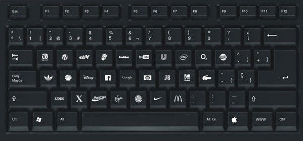 A Computer Keyboard with Logos of Popular Brands.