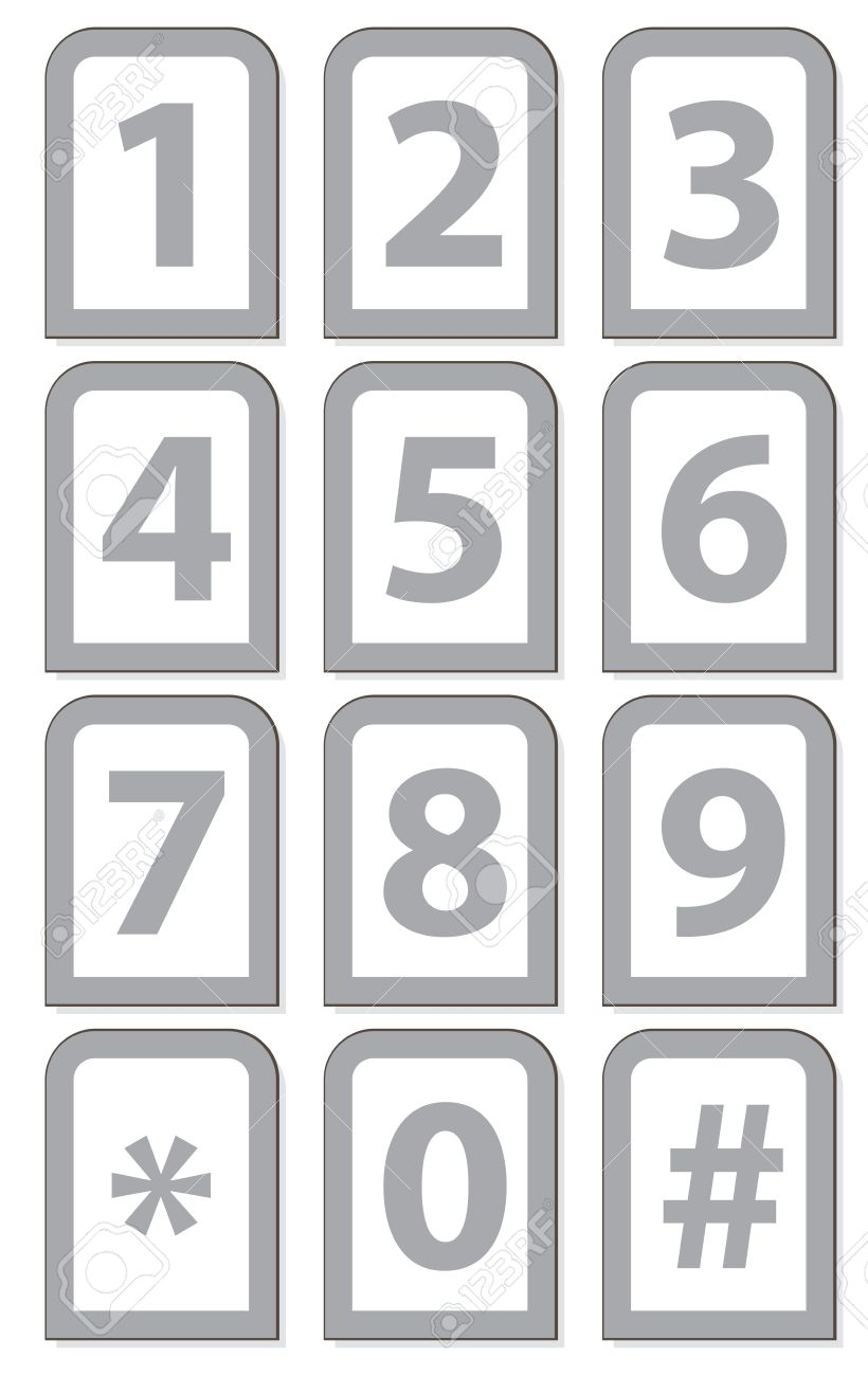 Vector Illustration Of A Number Phone Keypad Royalty Free Cliparts.
