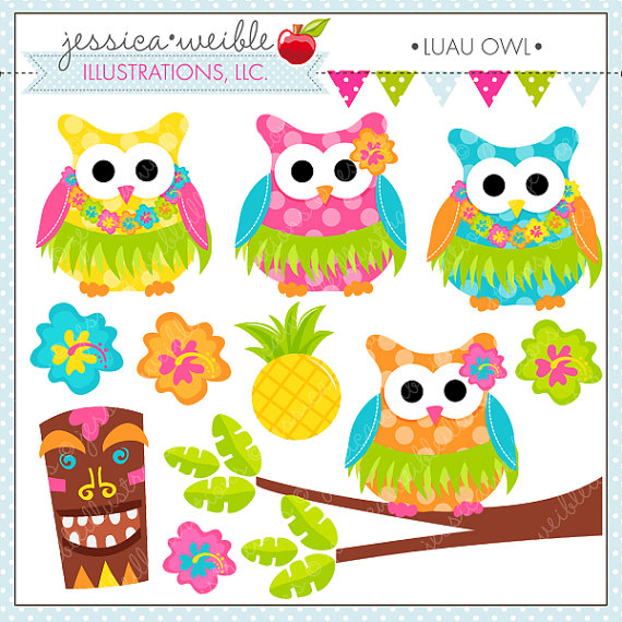 Luau Owl Cute Digital Clipart for Commercial or Personal Use, Luau.