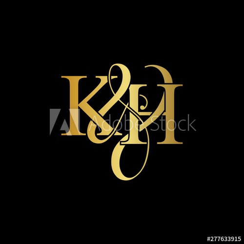 K & H KH logo initial vector mark. Initial letter K & H KH.