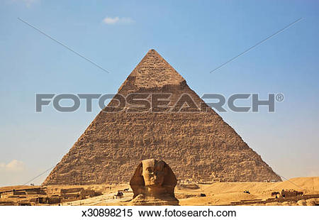 Stock Image of Pyramid of Khafre and Great Sphinx of Giza.