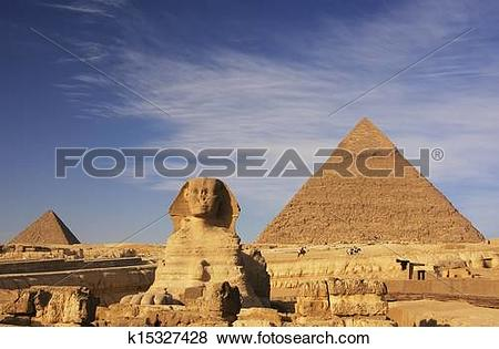 Pictures of The Sphinx and Pyramid of Khafre, Cairo, Egypt.